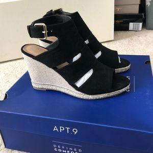Apt 9 Black Wedge Sandals